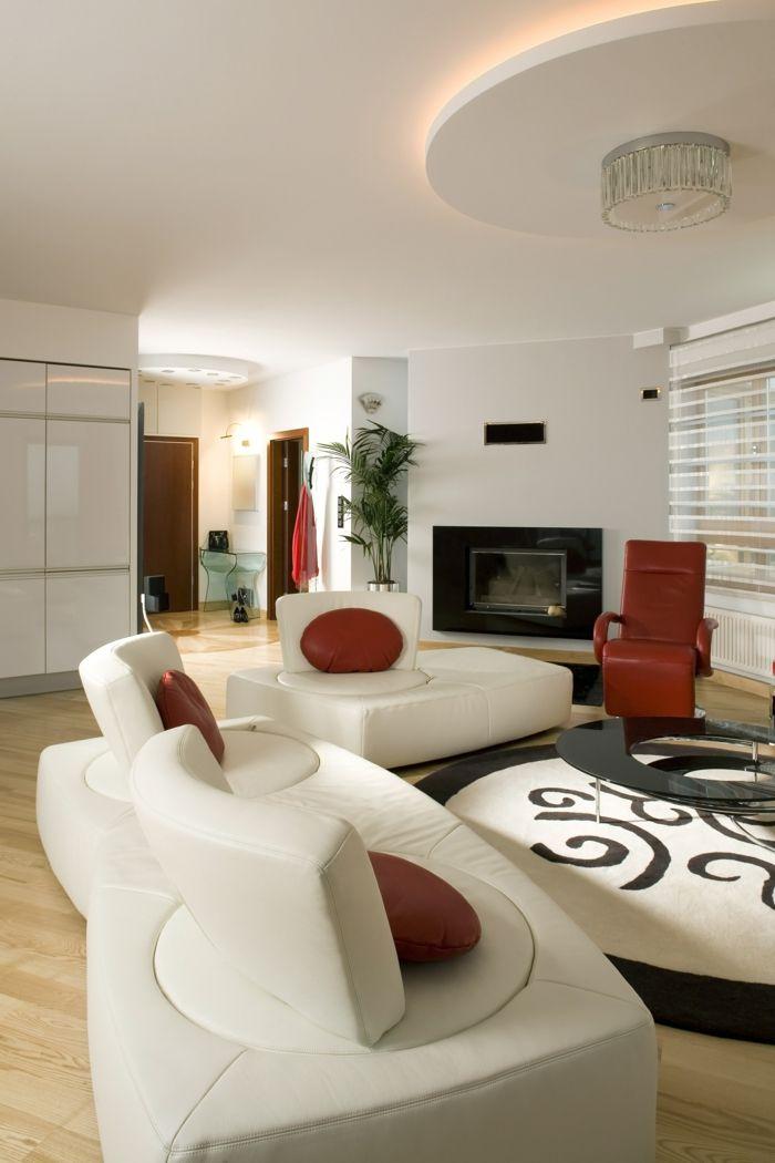 Wohnzimmer Beleuchtung Weisse Mbel Runder Teppich