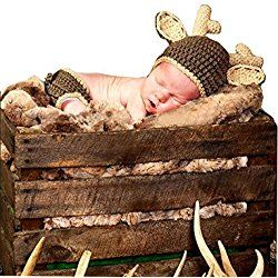 Christmas Handmade Baby Boy Deer Beanie cap and Diaper cover - great for Holiday photo opportunities!