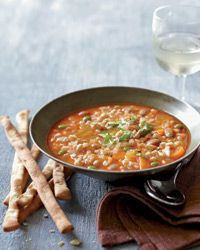 Mixed Vegetable and Farro Soup Recipe - vegan soup featured at Mario