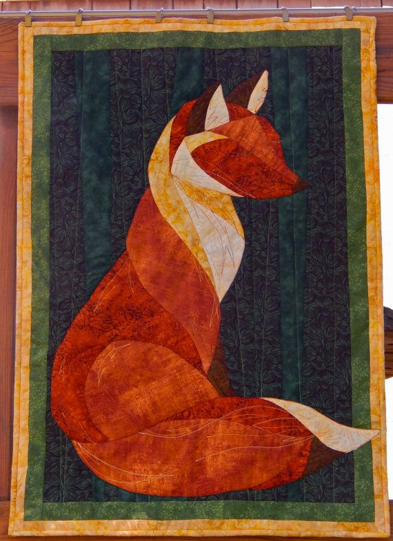 quilted wall hanging fox quilt home decor art by StoneSoupImages