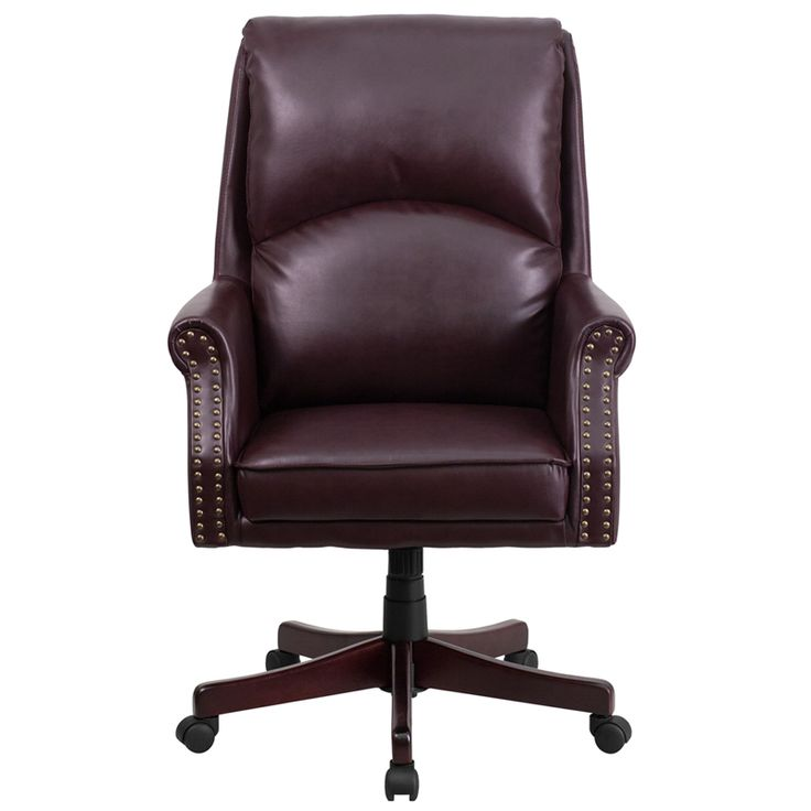 Traditional Office Chair, High Back Design, Plush Pillow Back Support, Tilt Lock Mechanism, Tilt Tension Adjustment Knob, Swivel Seat, Pneumatic Seat Height Adjustment, Rolled Arms with Brass Nail Accents, Mahogany Wood Capped Metal Base, Dual Wheel Casters, Burgundy LeatherSoft Upholstery, LeatherSoft is leather and polyurethane for added Softness and Durability, CA117 Fire Retardant Foam