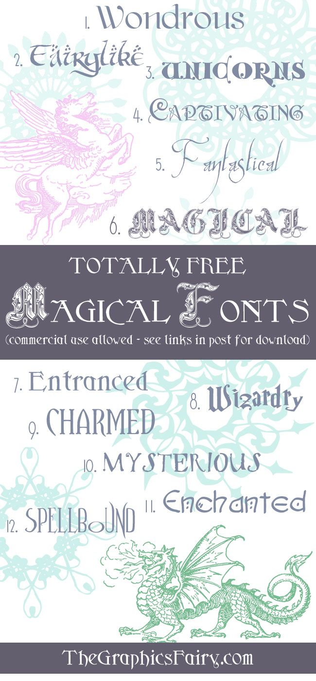 Free Magical Fonts by Emily for The Graphics Fairy