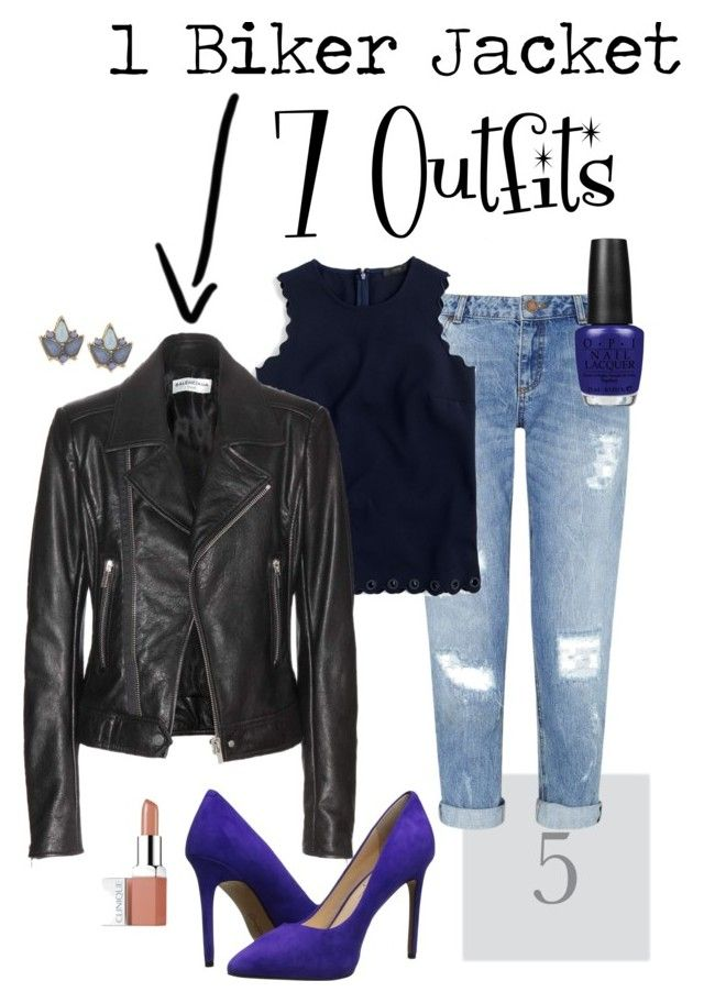 """1 Biker Jacket 7 Outfits no. 5: Ripped Jeans"" by irene-ireen ❤ liked on Polyvore featuring Carolee, Miss Selfridge, J.Crew, Balenciaga, Jessica Simpson, OPI and Clinique"