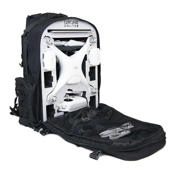 Drone Crates DJI Phantom Backpack for the safe storage and transportation of the DJI Phantom 4 multirotor / drone / uav system.