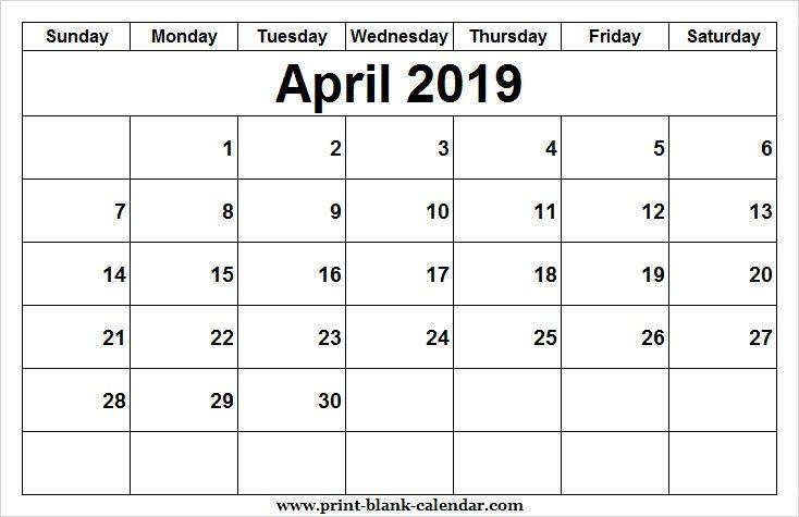 2019 April Calendar Design Printblank Pinterest Blank calendar
