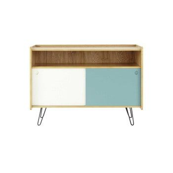 Wooden vintage TV unit in blue and white W 105cm - Twist