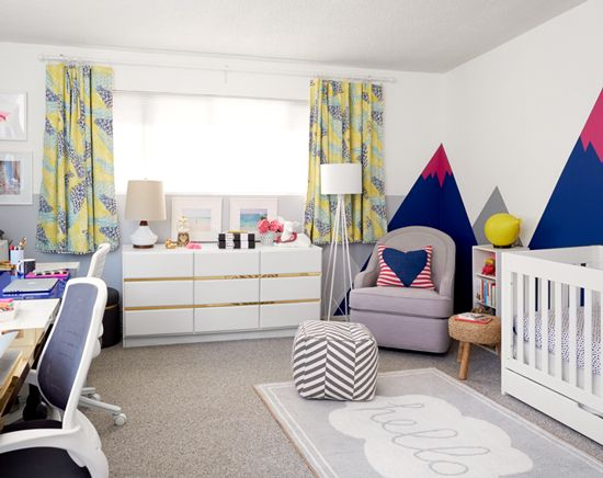 This fun, gender neutral nursery and office space is so cheerful! Oh Joy nursery/office by Emily Henderson