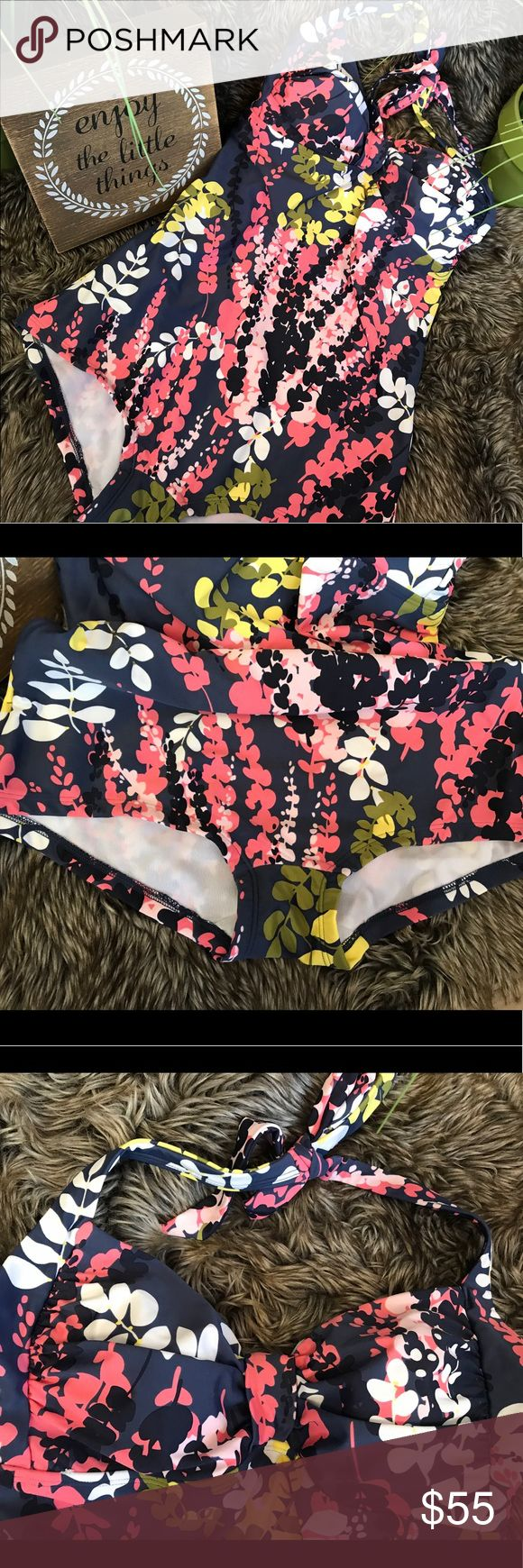 NWT Boden Retro One-Piece Floral Navy Swimsuit 8 New retro cut with ruched bust for pin-up fullness and retro cut bottom.  Size 8 US or U.K. 12.  Totally Marilyn Monroe Esther Williams vibe.  Fully lined.no underwire.  Halter style Boden Swim One Pieces