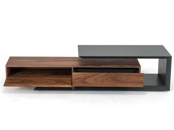 Low walnut TV cabinet LINK by Cattelan Italia design Paolo Cattelan