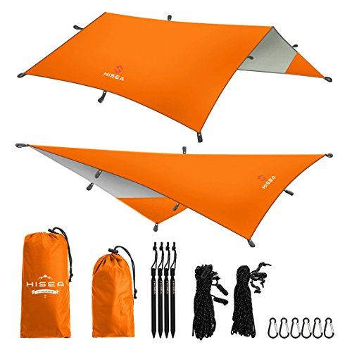 Hisea Hammock Rain Fly Tent Tarp Shelter 3m x 3m – Waterproof lightweight Rainfly Sun Shelters and Sunshade for Outdoor Camping Picnic Travel Beach Hiking Fishing,Orange. For product & price info go to:  https://all4hiking.com/products/hisea-hammock-rain-fly-tent-tarp-shelter-3m-x-3m-waterproof-lightweight-rainfly-sun-shelters-and-sunshade-for-outdoor-camping-picnic-travel-beach-hiking-fishingorange/
