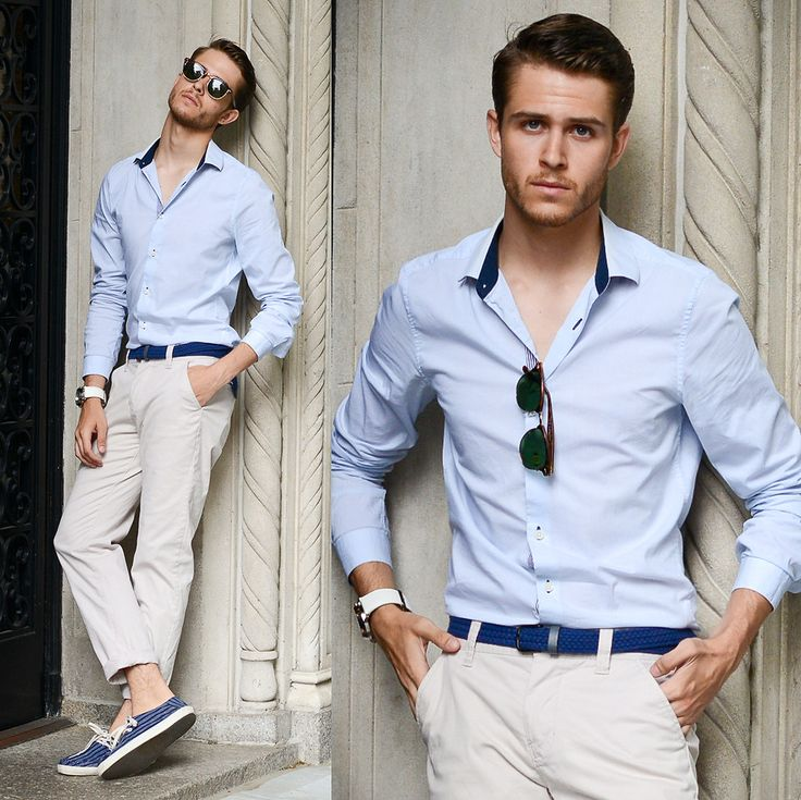Adam Gallagher - Shirtsimilar Here >, Clubmaster, Men In Cities Braided Belt, Similar Here > Chinos, Vans Surf Shoes - Nude blue   LOOKBOOK