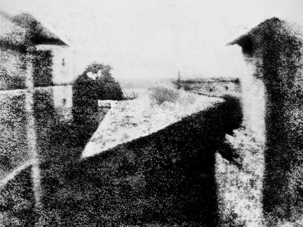 "World's FIRST photograph!!! 1826 French scientist Joseph Nicephore Niepce took this photograph titled ""View from the Window at Le Gras"" at his family's country home. He took this photo by exposing a bitumen-coated plate in a camera obscura for several hours on his windowsill."