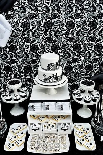 Black & White Dessert Tablescape