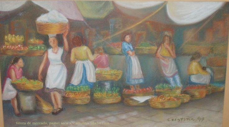 Escena de mercado, pastel