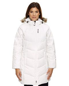 With the detachable faux fur trim hood and temperature rating suitable for temperatures 6º F to -32º F, this Ladies' North End Down Jacket with Faux Fur Trim is sure to keep the you warm all winter long. The down and feather insulation will keep you warm even in glacial conditions. The water resistant finish impedes moisture from penetrating the garment for a period of time. Modern fit with a sleek athletic silhouette. Available in sizes XS-3XL in Black and Winter White. #outerwear #jackets