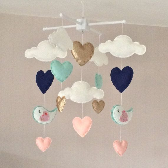 Baby mobile Baby girl mobile Cot mobile Heart by EllaandBoo
