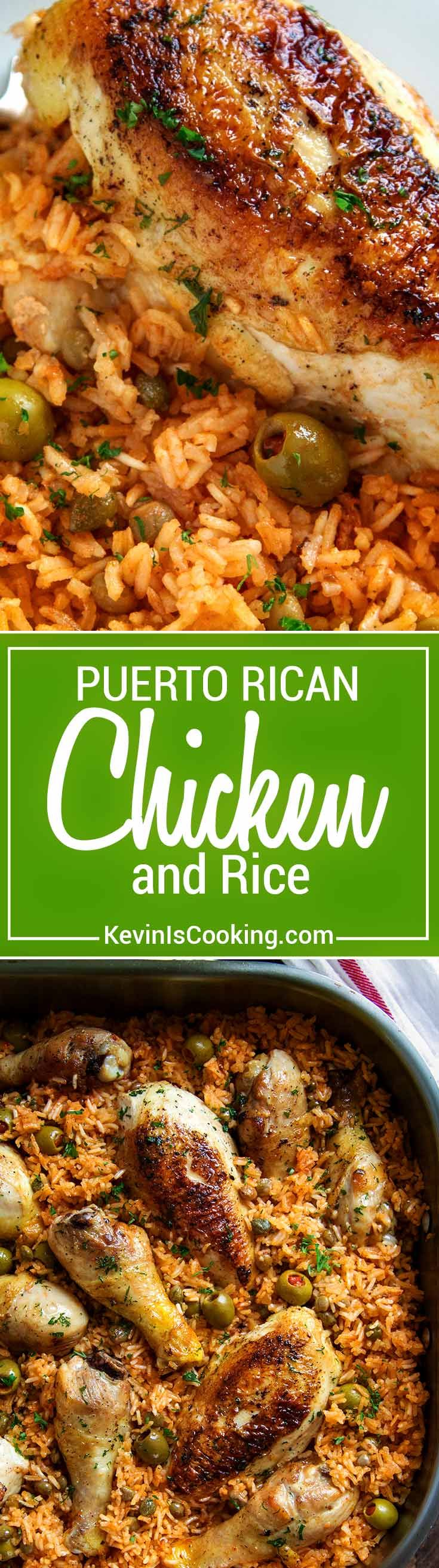 Puerto Rican Chicken and Rice is a Latin classic and packed with flavor, not heat. Browned chicken simmers in rice, flavorful sofrito, olives and capers. via @keviniscooking