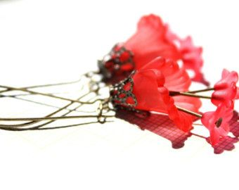 Items similar to Lucite Flower Earrings on Etsy