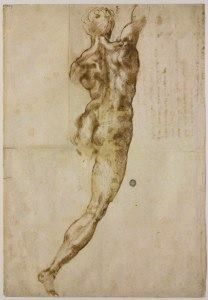 Michelangelo - this is the drawing that I drew/copied when I was 22 and put on my bedroom wall.  I brought a girl in my room one night and she wondered if I were gay. I ended up spending more than a year with her, yuk.  I should've let her go at that point, with that comment.