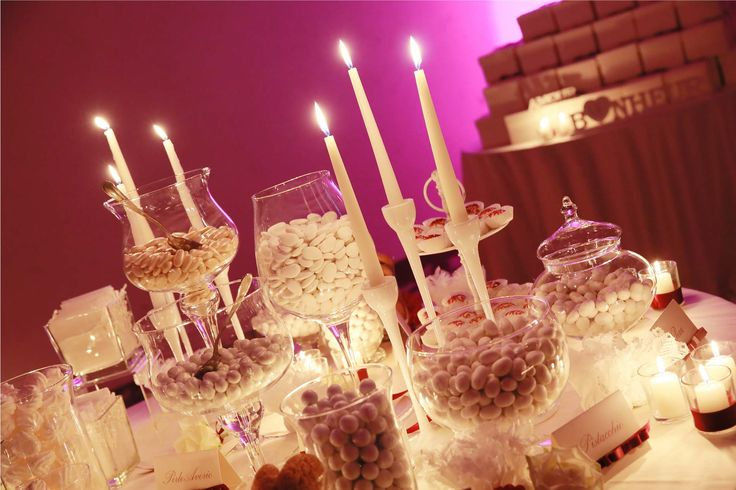 Luxury and elegant sweet table with dragees and Sardinian sweets.