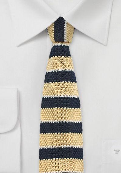 Krawatte gestrickt pastellgelb navyblau