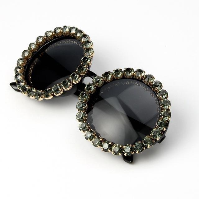 14.97 Color  Dark Green 17 Design Round Oversized Dark Green Sunglasses  Women Luxury Rhinestones 0a835ed0f1