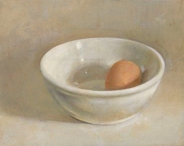 Christopher Gallego  Egg and White Bowl, 2006                        Oil on wood panel, 6 7/8 x 8 5/8 in.