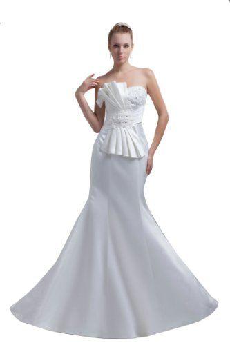 Honeystore femme robe de mariage bustier satin avec for Robes de mariage designer amazon