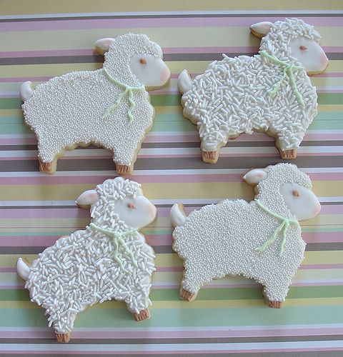 Babies and Lamb Baby Shower   lamb cookie favor 51 15