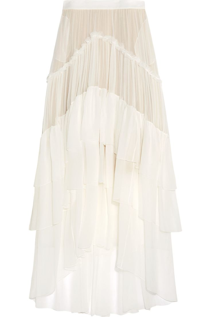 Ivory silk-mousseline Concealed hook and zip fastening at side 100% silk Dry clean Designer color: Milk Made in France