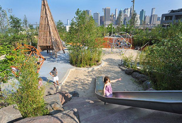 With multiple playgrounds, a pool,  rock climbing, a nature center and live entertainment, Brooklyn Bridge Park has it all.