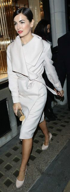 Camilla Belle in the perfect white coat.