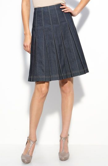 St. John Collection Lightweight Denim Skirt    Contrast stitching details a box-pleated A-line skirt cut from lightweight denim.  Side zip with hook-and-eye closure.  Unlined.  Cotton/elastomultiester (elasterell-p); dry clean.  By St. John Collection; made in the USA.  item #397753  $495.00