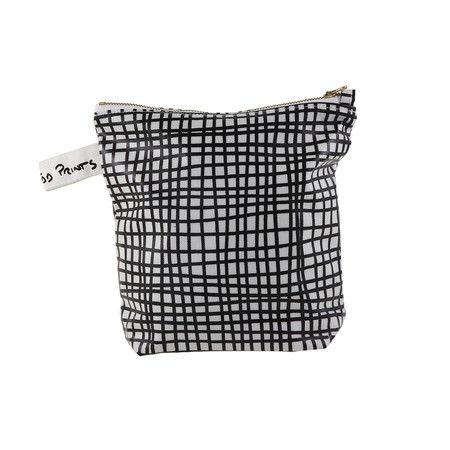 Sunny Todd Prints - Cross-Hatch Wash Bag - Black & White
