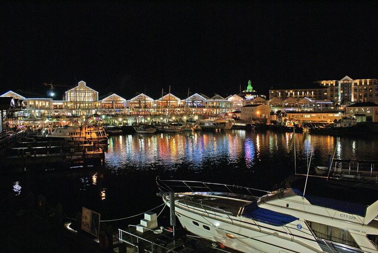V&A Waterfront in Cape Town at night.