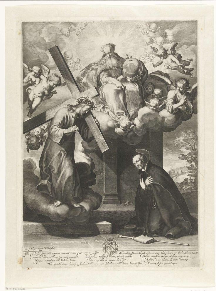 Cornelis Bloemaert (II) | Het visioen van de heilige Ignatius van Loyola, Cornelis Bloemaert (II), 1630 - 1633 | Ignatius van Loyola de oprichter van de Sociëteit van Jezus,  wordt hier afgebeeld als een man van middelbare leeftijd, met het zwarte habijt van zijn orde, biddend in een kapel langs de kant van de weg. Voor hem verschijnt de gedaante van Christus die het kruis draagt.
