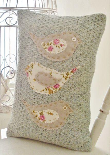 Sweet Tweet Knitted Cushion by Random Button