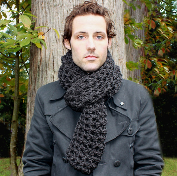 Mens Cowl neck Scarf hood charcoal black warmer.