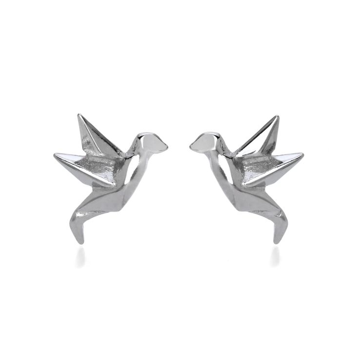 John Greed Origami Safari Birdie Rhodium Plated Silver Stud Earrings | John Greed Jewellery