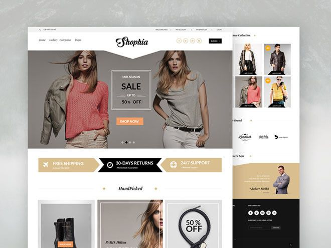 Shophia Elegant eCommerce PSD Template