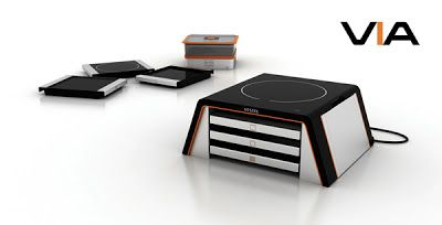 VIA Modular Cooking Concept: This multifunctional super-compact unit features interchangeable grilling, griddle, and induction cooking modules.