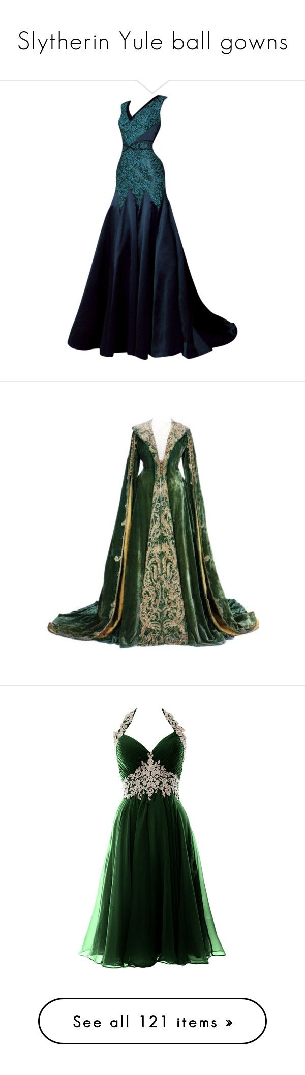 """Slytherin Yule ball gowns"" by weeby ❤ liked on Polyvore featuring dresses, gowns, long dresses, vestidos, blue ball gown, long blue evening dress, blue dress, blue gown, medieval and costume"