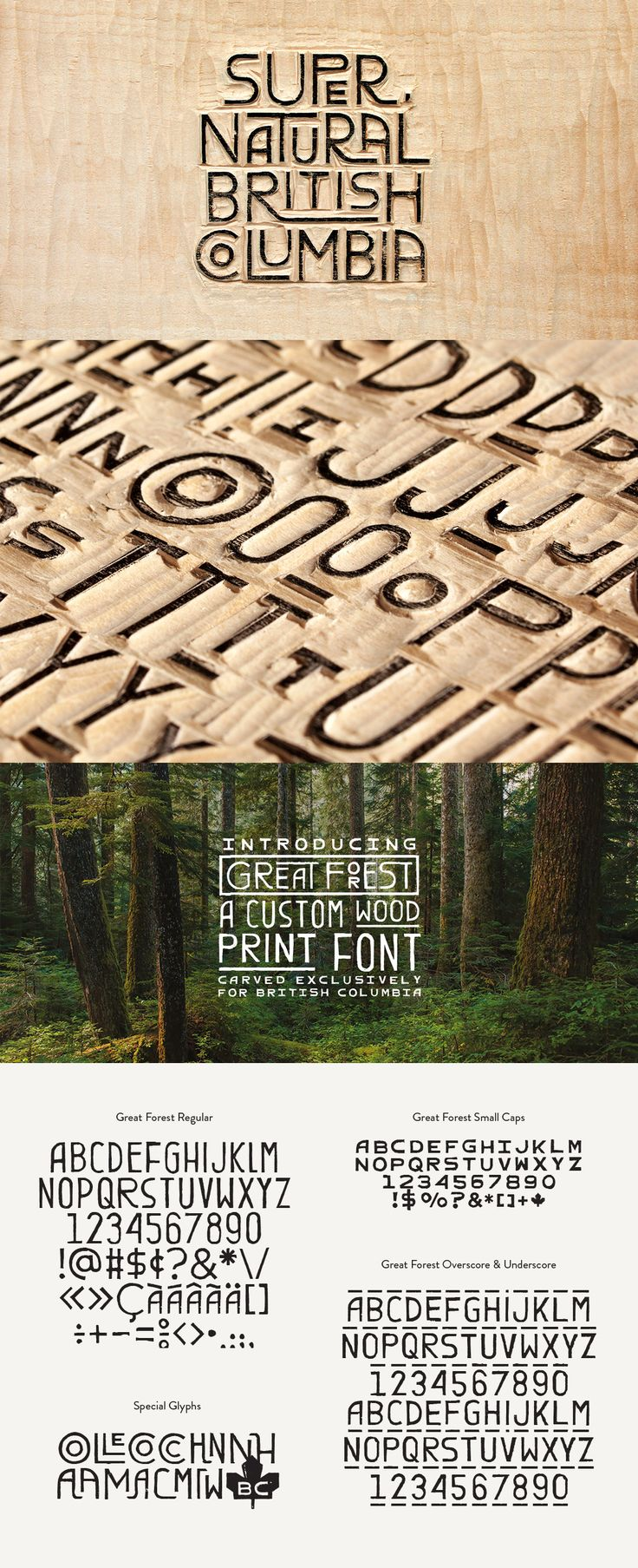 Great Forest—a hand-carved wood font created as the cornerstone of the new visual identity for Tourism British Columbia.  Gabriel Lefebvre and Rachel Lecompte via ēthos.   Multi-face type families are much more beautiful when you can find what you're looking for. Get it together with Suitcase Fusion, free for 30 days: http://www.extensis.com/font-management/suitcase-fusion/