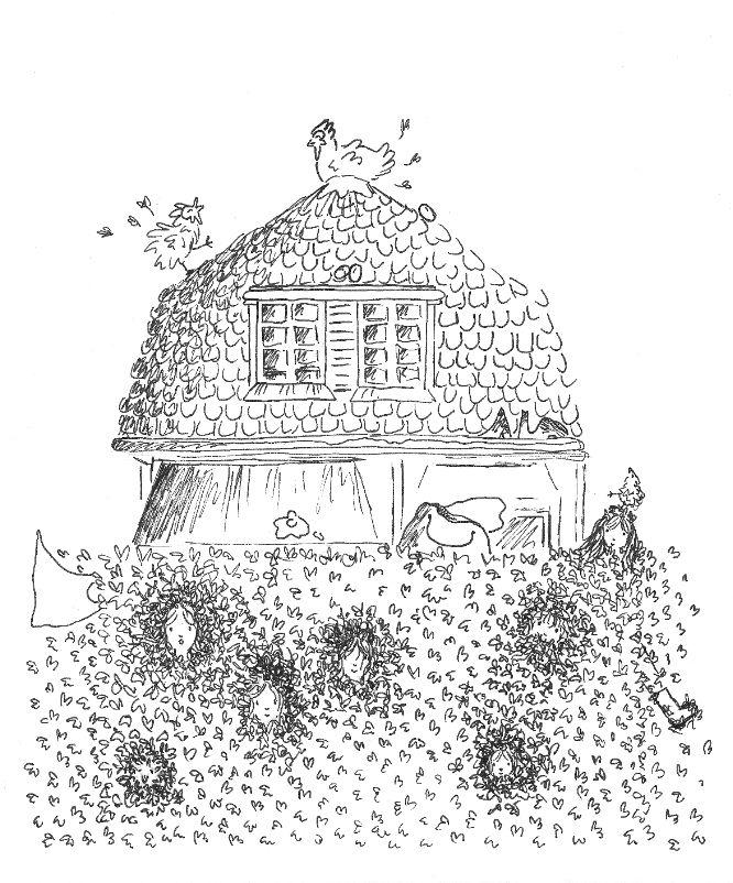 Chaos rond het huis, illustratie.