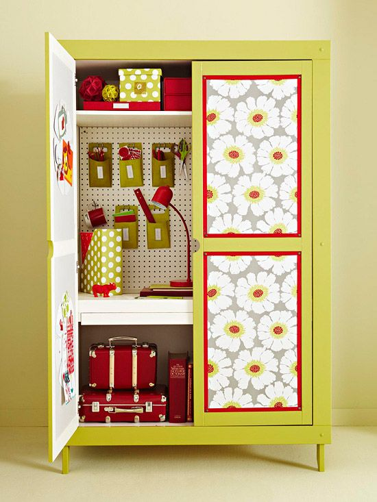 DIY- Craft Room Armoire~ Revamp an armoire with wallpaper and ribbon trim. Adhere rectangles of wallpaper to the front of an armoire with decoupage medium. Trim the rectangles with ribbon to finish the look. Inside, this cabinet is ready for some serious crafting. Magnetic boards are attached to the inside of the doors, and pegboard covers the back.