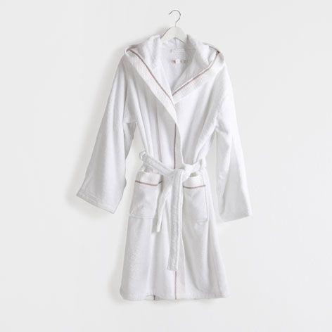 Albornoz jacquard blanco toallas y albornoces ba o - Albornoz zara home ...