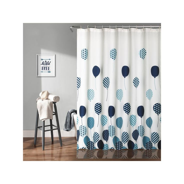 Lush Decor Flying Balloon Kid's Shower Curtain, Blue