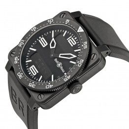 Bell & Ross Aviation Black Dial Black PVD Stainless Steel Black Rubber Mens Watch BR0392-AVIA-CA