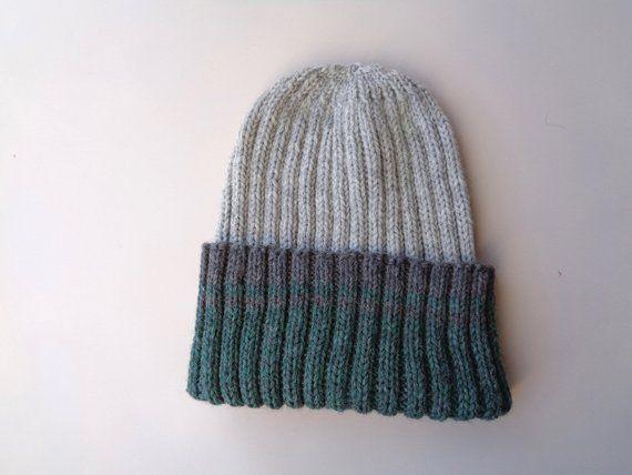 271eb801 XL Mens Hat, Gray & Green, Hand Knit, 100% Wool, Beanie Hat, Watch ...