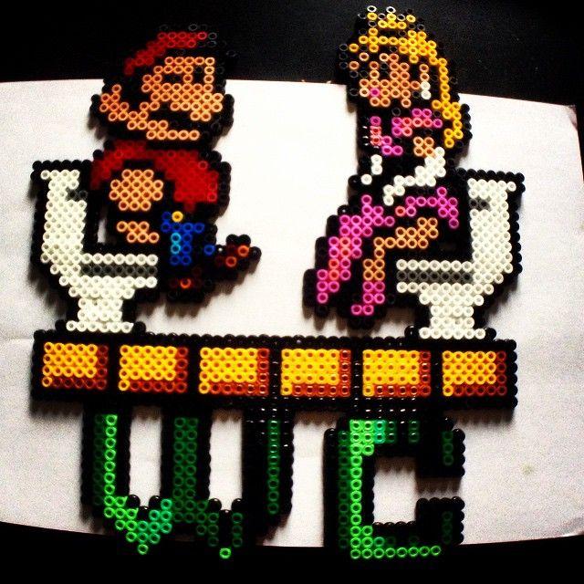 Mario toilet sign hama beads by robbrin88